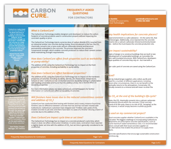 CarbonCure FAQ for Contractors Thumbnail