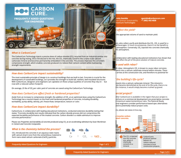 CarbonCure FAQ for Engineers Thumbnail