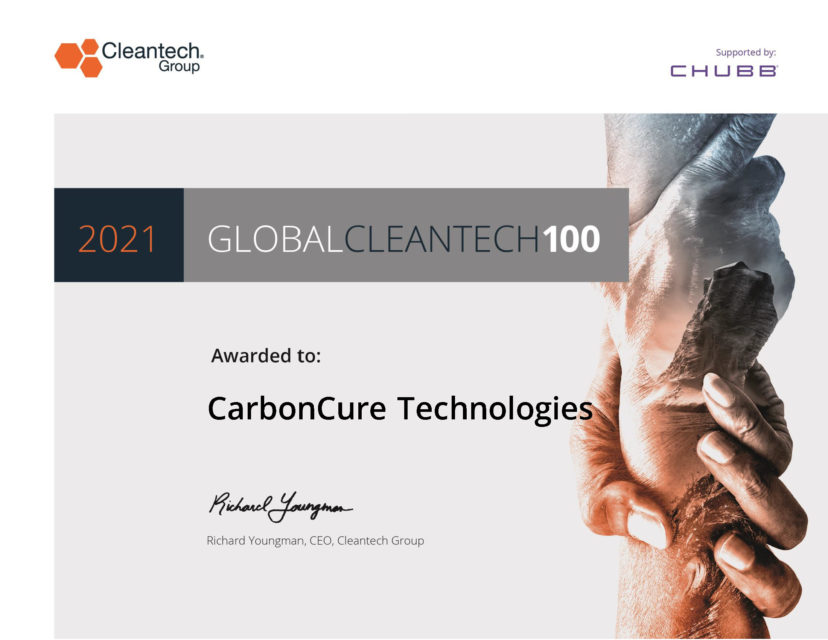 CarbonCure Technologies_Cleantech Global 100 Certificate